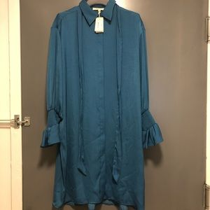 Satin shirt dress in Teal